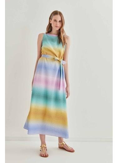 Vitrin Sıfır Kol Renk Geçişli Uzun Elbise Renkli